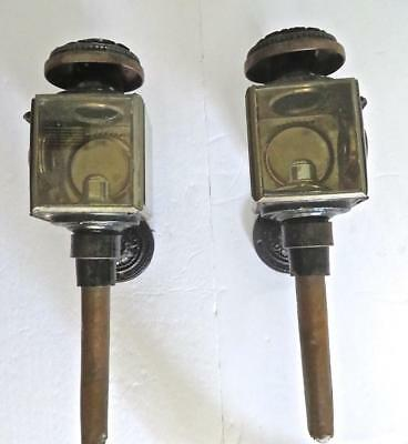 Antique Pair of 19C. Carriage Lamps, Brass, Tin & Glass Electrified w/ Brackets