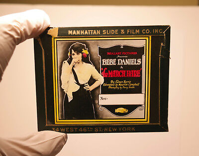 """1921 """"The March Hare"""" Bebe Daniels MOVIE THEATER ad glass slide"""