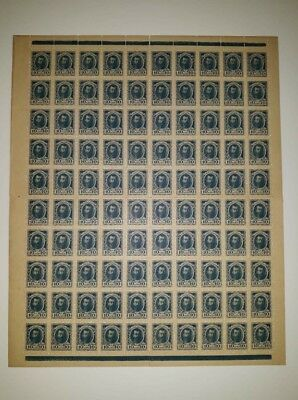 100x Russia postage stamp currency 10 Kopeks 1915 UNC P#21 sheet uncut 100pcs