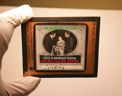 """1910s """"For Better, For Worse"""" Gloria Swanson ? MOVIE THEATER ad glass slide"""