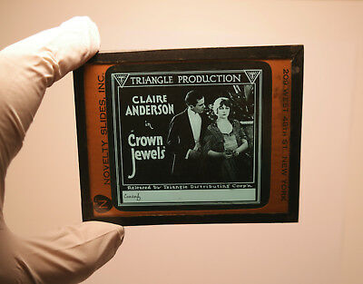 """1918 """"Crown Jewels"""" Claire Anderson""""  MOVIE THEATER ad glass slide"""
