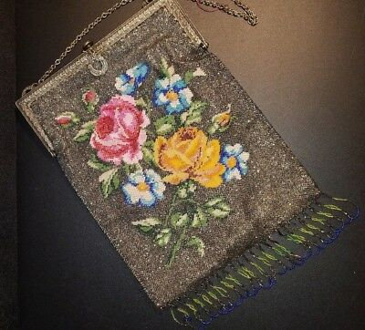 ~Reticule Ladie's Glass Beaded Bag, Art Nouveau, Victorian, Near Mint!