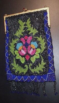 ~Reticule Ladie's Glass Beaded Bag Art Nouveau Early 20th Century, Near Mint!