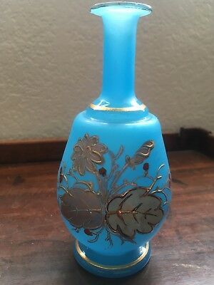 Victorian Scent Bottle Robins Egg Blue Perfume Hand Enameled Flower/Berries