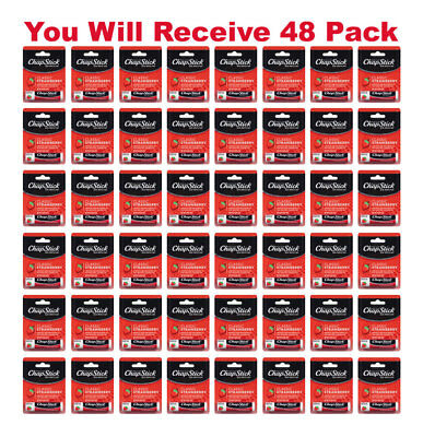 48x ChapStick Classic Skin Protectant Strawberry Carded Retail Packaging