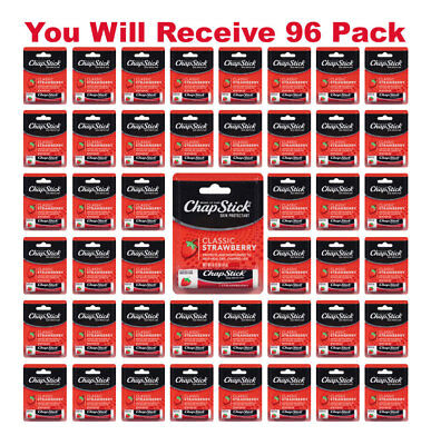 96x ChapStick Classic Skin Protectant Strawberry Carded Retail Packaging