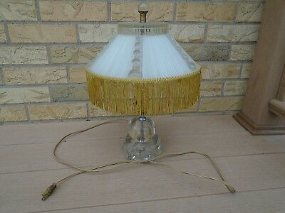 Vintage Ribbed Glass Fringe Shade W/ Clear Glass Base Table Lamp