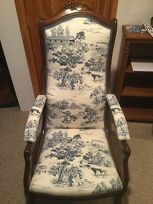 Antique victorian Chair Totally Restored In Mint Condition With Foot Stool.