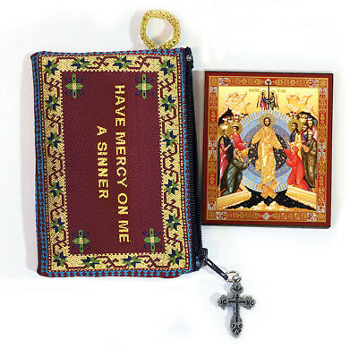 Tapestry Jesus Prayer Pouch With Resurrection of Christ Adam and Eve Icon Easter