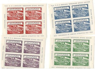 1938 Philatelic Society Of Pittsburgh Expo Souv Sheet Set