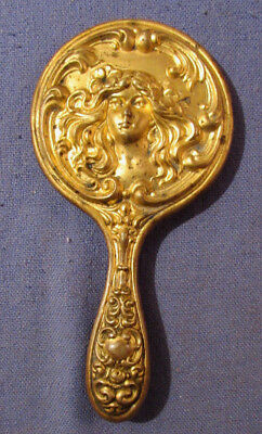 Antique Art Nouveau Hand Mirror With Victorian Lady For Pocket Book - Doll