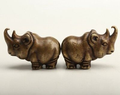 2 Rare Chinese Bronze Figurine Statue Solid Cast Old  Rhinoceros Gift
