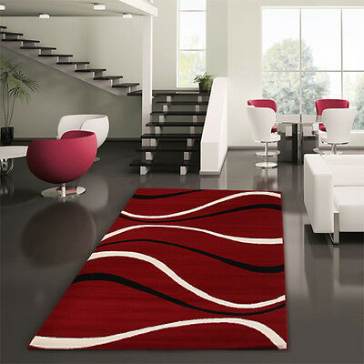 Modern Rug Red Black Large Floor Rug Carpet Mat 230 x 160 Eliza 1921