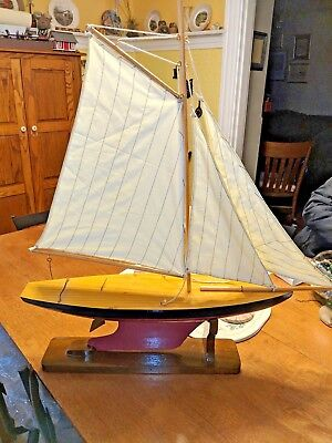 Pond Yacht Sailboat -- Solid Wood With Canvas Sails -- Display Stand Included