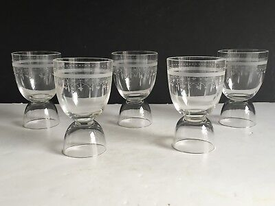 5pcs Antique Blown SANDWICH Glass Egg Cups FROSTED BAND WITH PRISM Rare Form