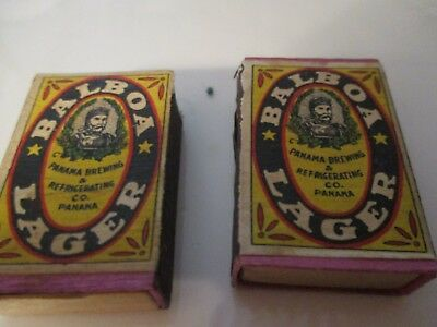 2 Vintage Boxes Of Matches Advertizing Balboa Lager Beer Panama Brewing Co.