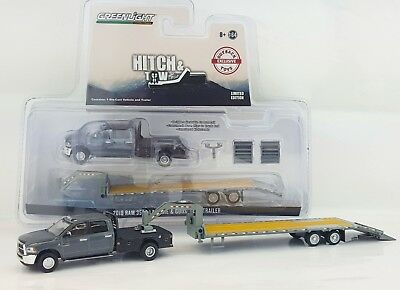 1:64 GreenLight *GRANITE* 2018 RAM 3500 Laramie DUALLY FLATBED GOOSNECK TRAILER