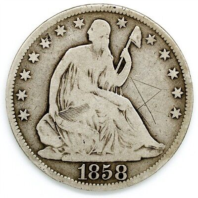 1858-O Seated Liberty Half Dollar - VG/Fine Detail - 50c Silver Coin