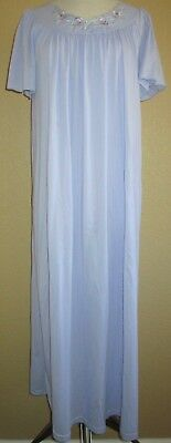 Vintage SHADOWLINE PURPLE Lavender LONG Night Gown 1X Flutter Sleeves FREE Ship