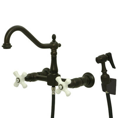 Kingston Brass KS1245PXBS Wall Mount Kitchen Faucet, Porcelain X-Handle &Sprayer