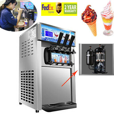 Commercial Soft Serve Ice Cream Machine Frozen Yogurt 3 Flavor From USA USPS