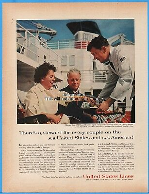 1960 SS United States Lines Cruise Ship J R Donnell Ohio Oil Ad Advertising