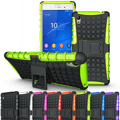 For Sony Xperia M4 Aqua Shockproof Hybrid Hard Armor Rubber Case Stand Cover
