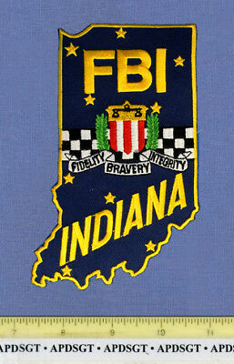 FBI INDIANA Sheriff Federal Police Patch LARGE STATE SHAPE