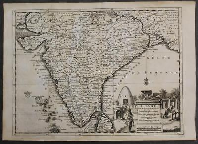 India & North Sri Lanka 1736 Van Der Aa Antique Original Copper Engraved Map