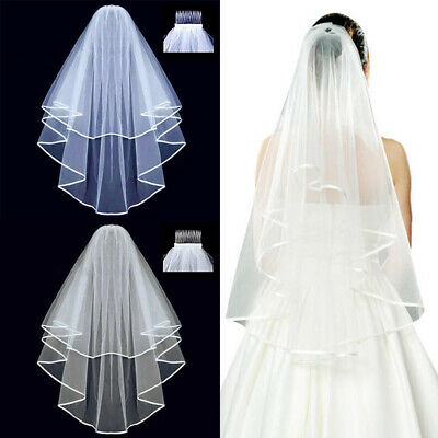 Short Wedding Veils Bride Accessories White Bridal Bride Shoulder Length Veils