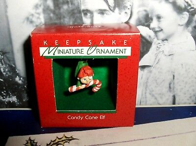 Candy Cane Elf`1988`Miniature-Little Elf With Candy Cane,Hallmark Tree Ornament