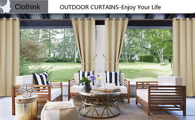 Clothink Outdoor Curtain Grommet Top Thermal Insulated Blackout Waterproof Panel