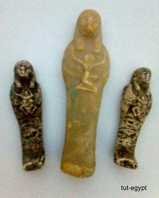 3 ANCIENT EGYPTIAN ANTIQUE USHABTI Statue Limestone 1963-1758 BC