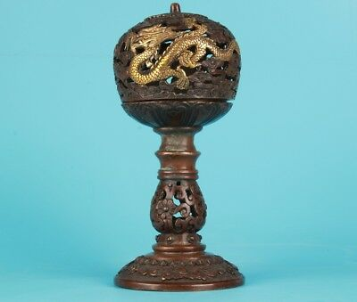 Antique Chinese Bronze Gilt Statue Incense Burner Home Decoration Old Collection