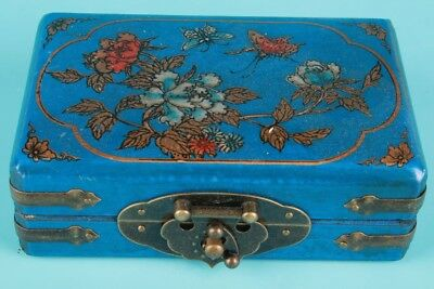 Vintage Chinese Blue Leather Jewelry Box Painting Flowers Birds Decorative Gift