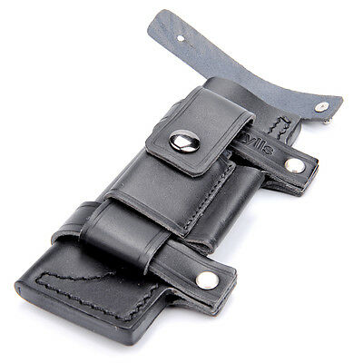 """7"""" Straight Leather Belt Sheath W/Pouch Bag Black For Fixed Knife Hunting"""