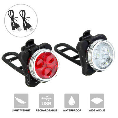 USB Rechargeable LED Bike  Set Headlight Taillight Caution Bicycle