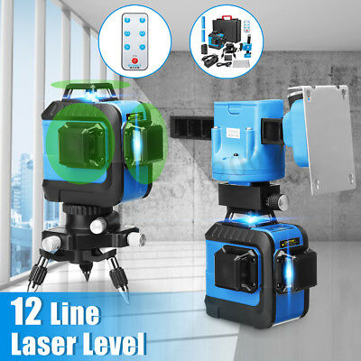 12 Lines 3D 360° Laser Level Self Leveling Measure + Auto Wall Holder + Tripod