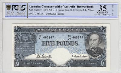 1960 Australia 5 Pound Banknote Coombs/Wilson Ch VF 35 PCGS Washed & Pressed