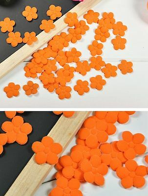 Wo 50 Sping Orange Padded Sewing Scrapbooking Craft Flower Trim Applique Spandex