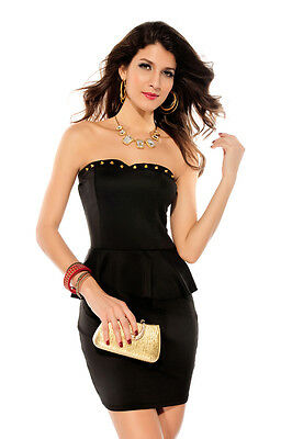 Woo Sexy Black Bandeau Gold Rivets Bustline Strapless Peplum Mini Dress Cocktail