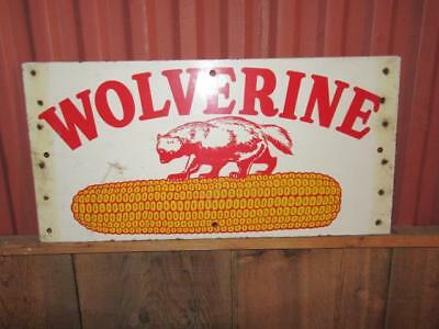 Rare Original Antique Vintage Michigan Wolverine Seed Corn Advertising Sign
