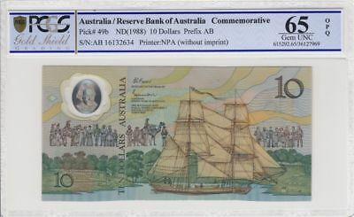 1988 Australia $10 Note Johnston/Fraser 2nd Release Gem Uncirculated 65 OPQ PCGS