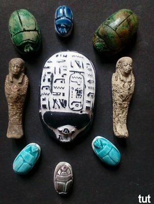 RARE ANCIENT EGYPTIAN ANTIQUE Egypt 7 Scarab 2Ushab(Shabti) Carved Stone 1210 Bc