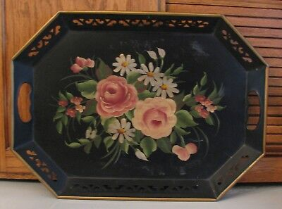 """Vintage Black Metal Cottage Tole Painted Country Rose Flowers Tray 18"""" X 13"""""""