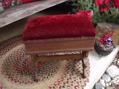 Signed Primitive Antique Victorian Era Piano Bench Organ Bench Sandwich Illinois