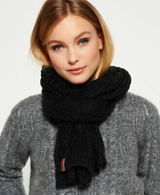 New Womens Superdry North Cable Scarf Black