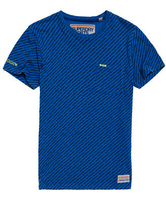 New Mens Superdry Classic Overdyed Pocket T-Shirt Blue