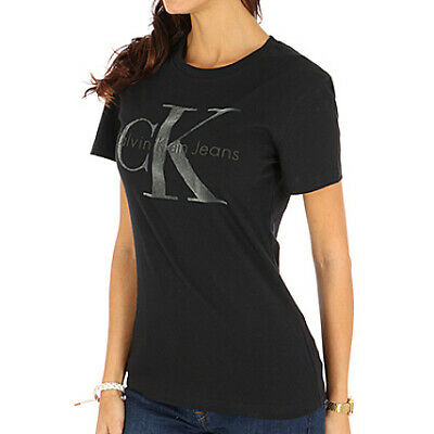 16867460169bd CK CaIvin Klien Women Fitted Tshirt Top Short Sleeves Brand Logo Black Blue