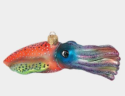 Multicolor Squid Polish Blown Glass Christmas Ornament Ocean Life Decoration
